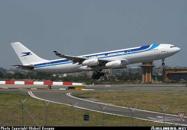 One of Aerolineas' Airbus 340's.