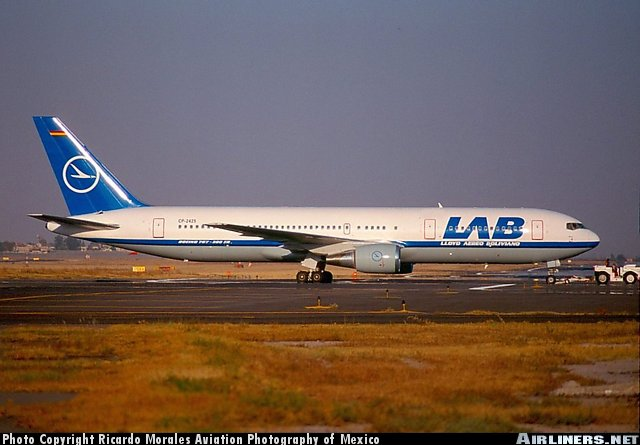 LAB newest aircraft, a beautiful 767-300 as seen here in Mexico City, Mexico.
